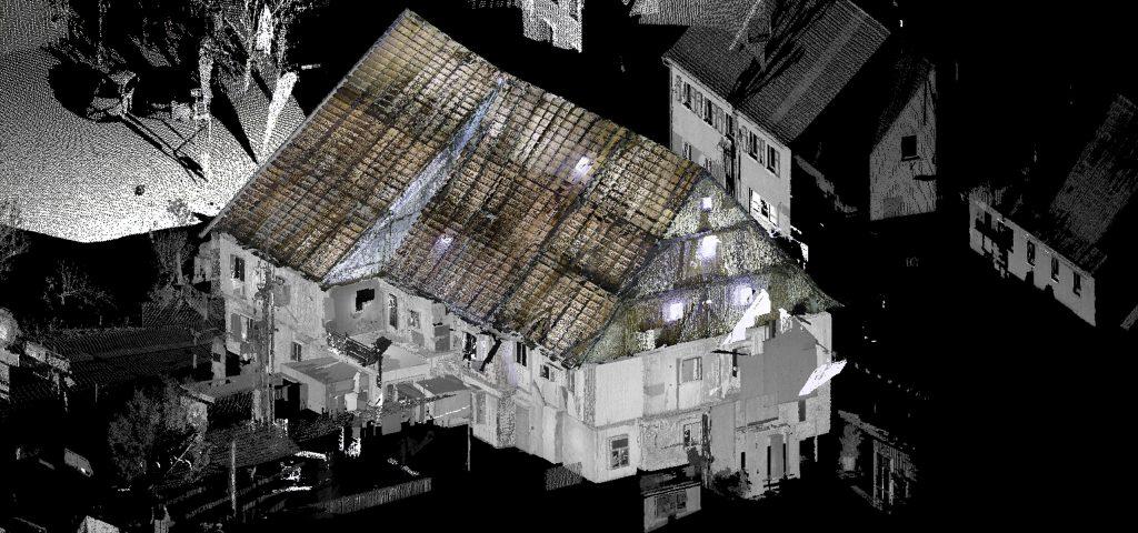 Planungsbüro Grassl 3D-Laserscan-Aufmaß historischer Dachstuhl