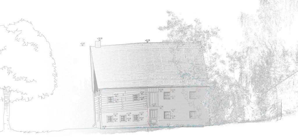 Planungsbüro Grassl 3D-Laserscan-Aufmaß ehem. Bauernhaus